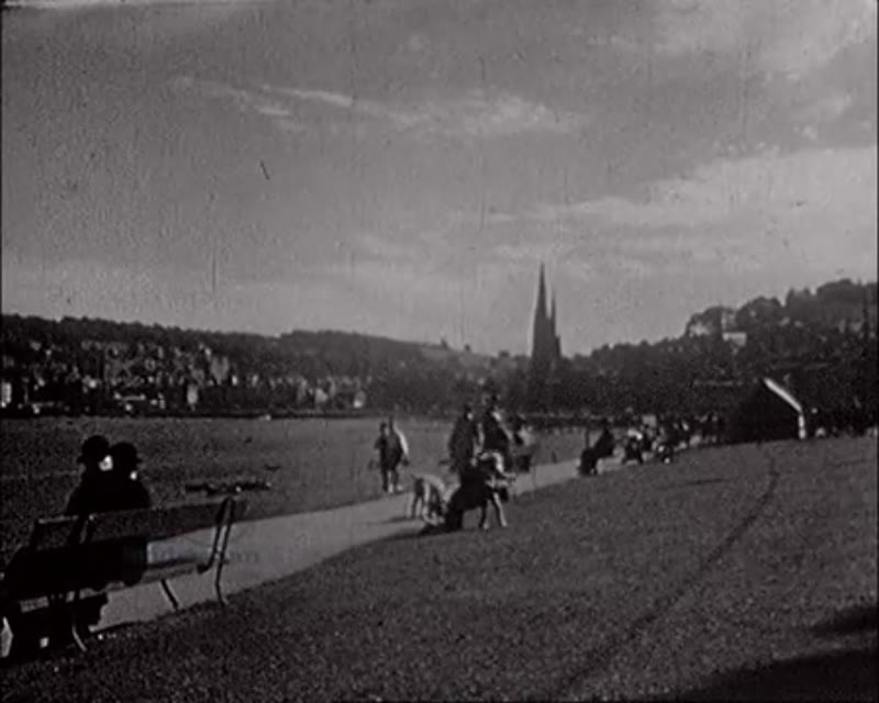 Sun-worshippers on bank of the Firth of Clyde at Rothesay, Scotland 1930s