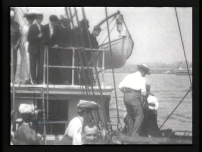 Explorer Robert Peary on day of his departure for his 1905 expedition to the North Pole - early Thomas Edison film