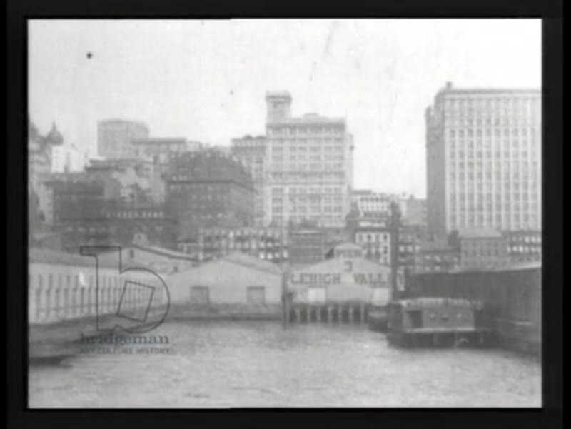New York skyscrapers seen from North River, 1903 - early Thomas Edison films