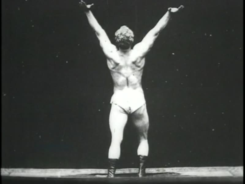 Sandow, the strongman shows off his muscles, 1894