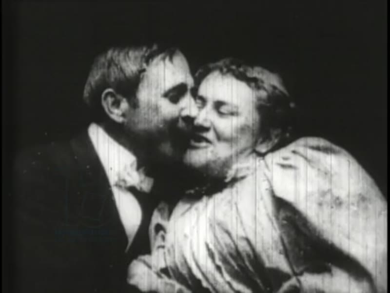 May Irwin and John Rice kiss, early Edison film, 1896