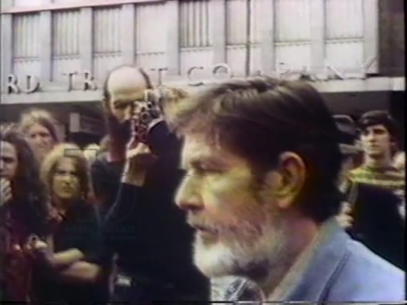 John Cage performs 4'33'' in Harvard Square, Boston, c.1973