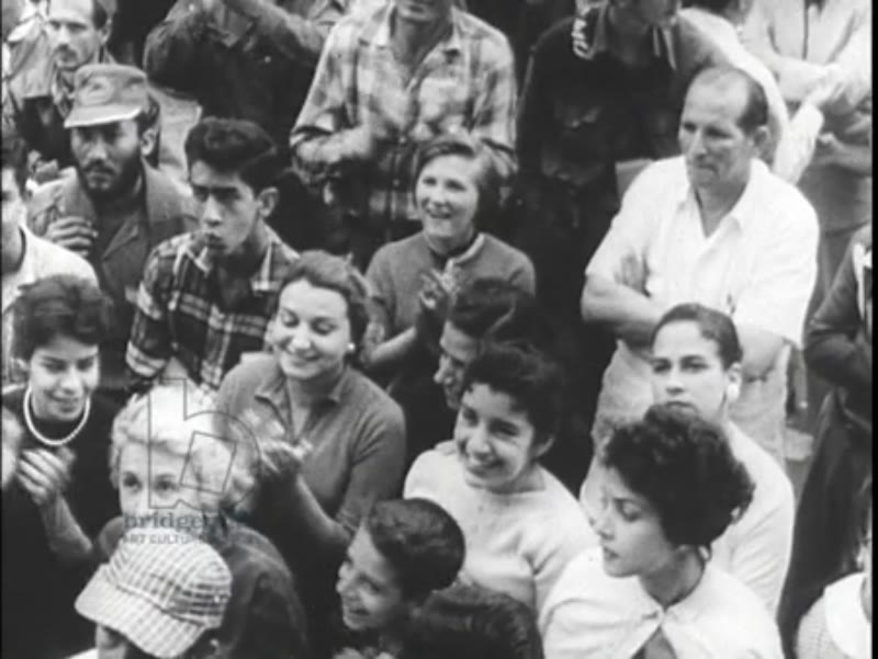 Fidel Castro speaks to the people, gesturing wildly - Cuban Revolution c.1959