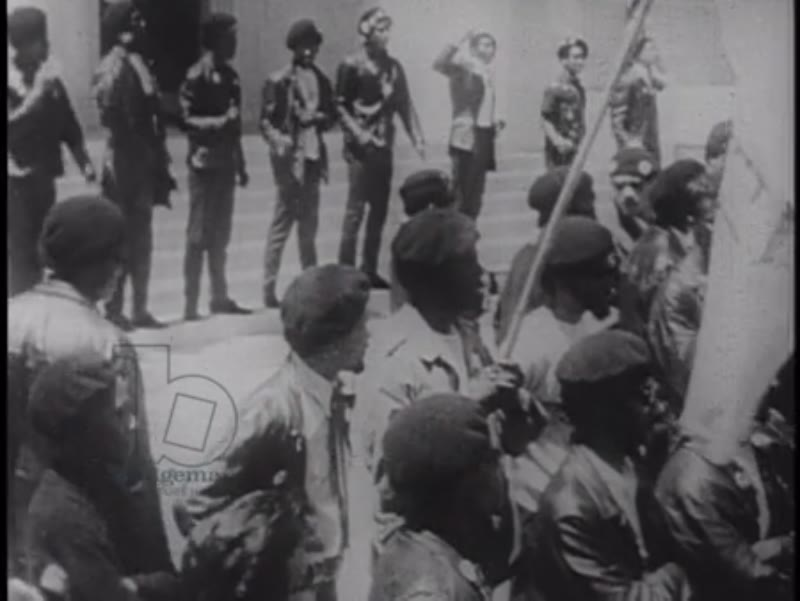 Black Panther rally with police force in riot gear. California 1969