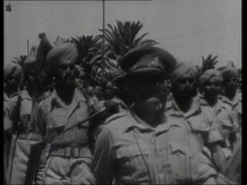 Dwight David Eisenhower talking to camera 1943, victory parade in Tunisia; Winston Leonard Spencer Churchill