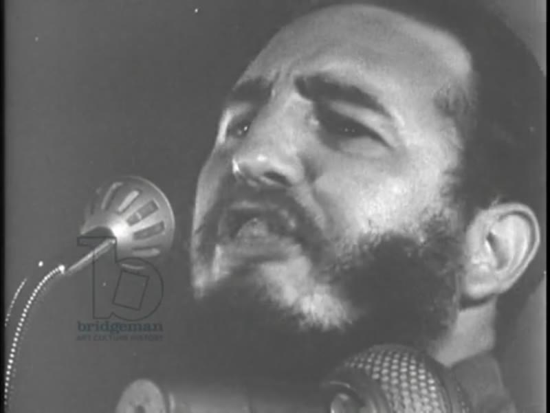 CU of Fidel Castro during speech, 1959, Cuban Revolution