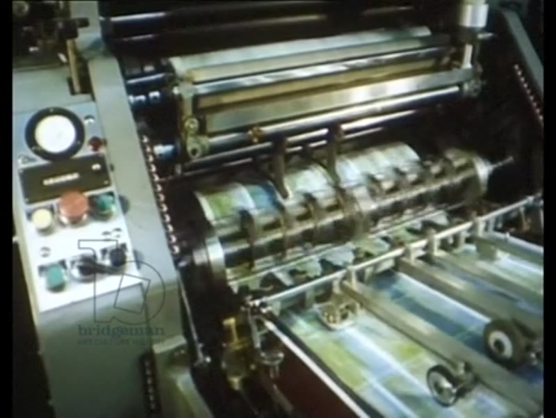 One of Our Own Kind part five - printing press operators, close up shots of colour printing of postcards