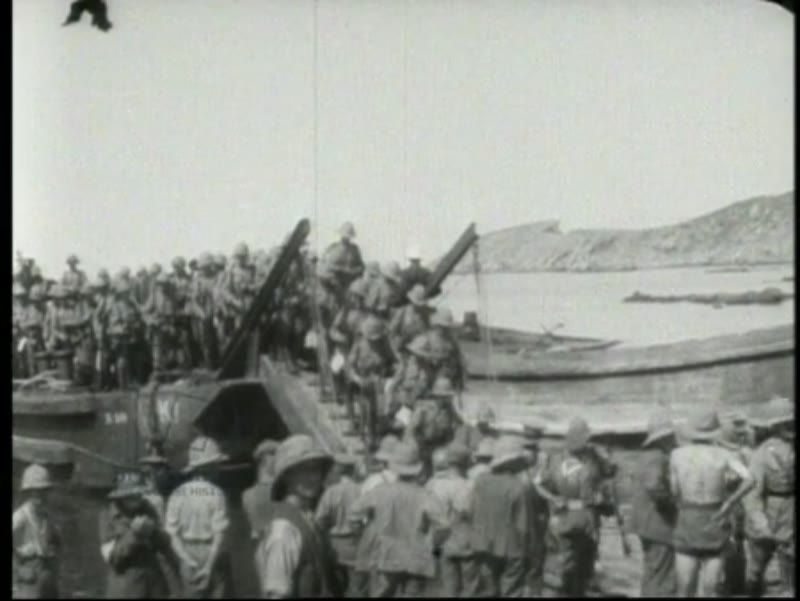 Landing at Suvla Bay, August 1915, Gallipoli campaign, British troops. Water and animal supplies delivered.