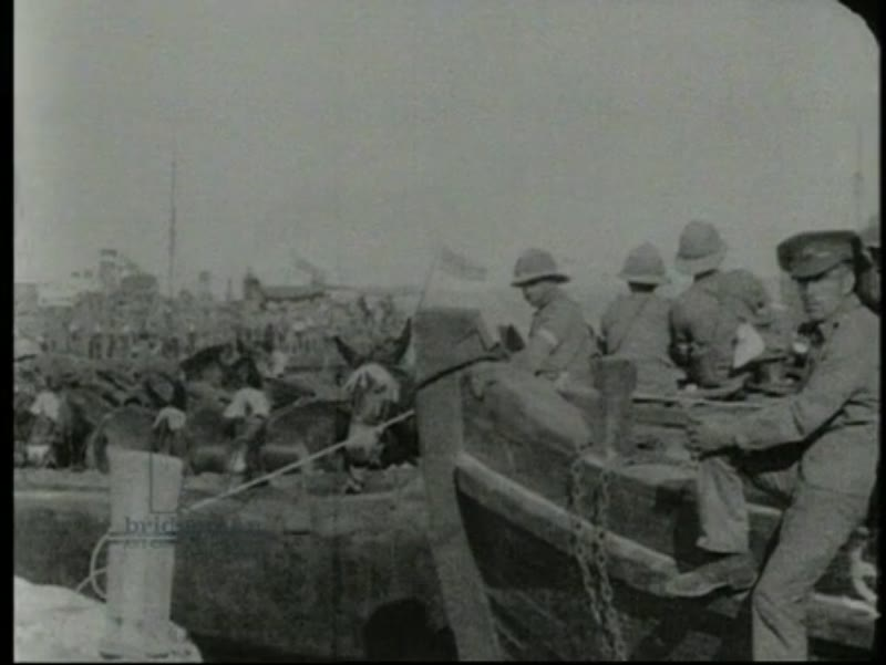 Gallipoli Campaign of WWI, Suvla Bay, Egyptian labourers and Turkish prisoners build allied camps, plane wreck, 1915