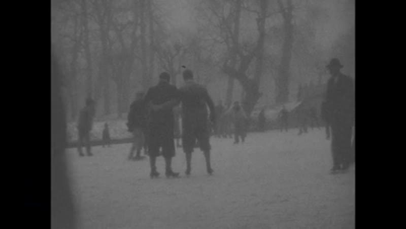 Ice skating in the park, Cambridge, 1928