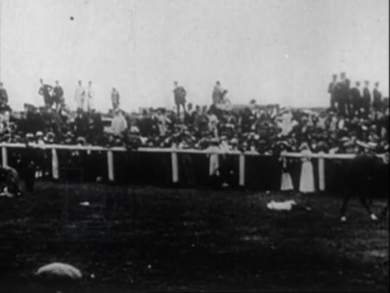Suffragette Emily Davidson is hit by galloping horse at the Espom Derby, 4th June 1913