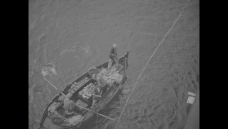 Filmed from a cruise ship in the Mediterranean, rowing boat, peer, 1933