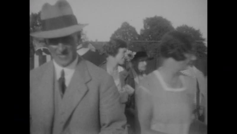 Various scenes from home movie reel - tennis, automobiles, golf, people, going to church, etc. c.1930