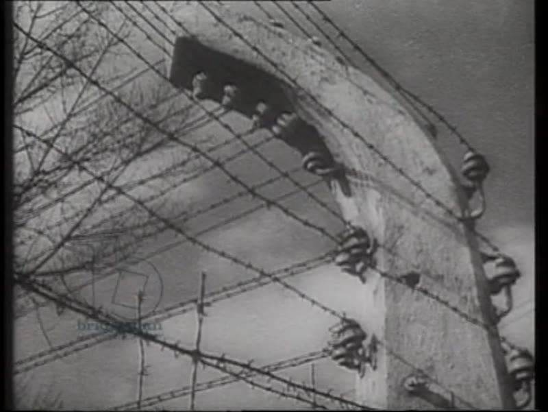 Exterior of Auschwitz concentration camp, Poland, 1944
