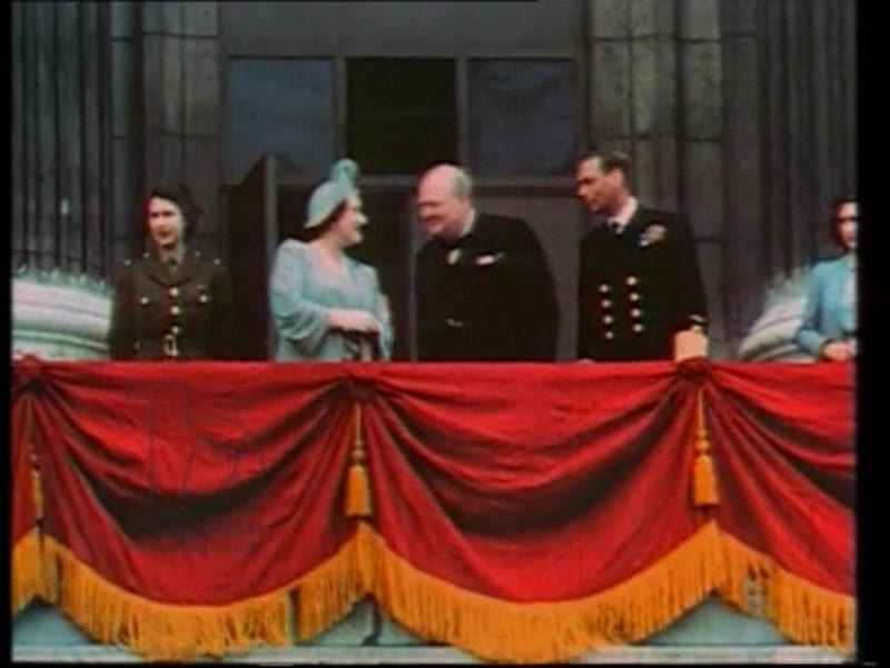 Churchill at Buckingham Palace with the Royal Family, VE Day, 8th May 1945