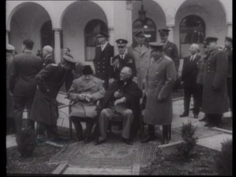 Churchill at the Yalta Conference with President Roosevelt and Joseph Stalin, Crimea, 1945