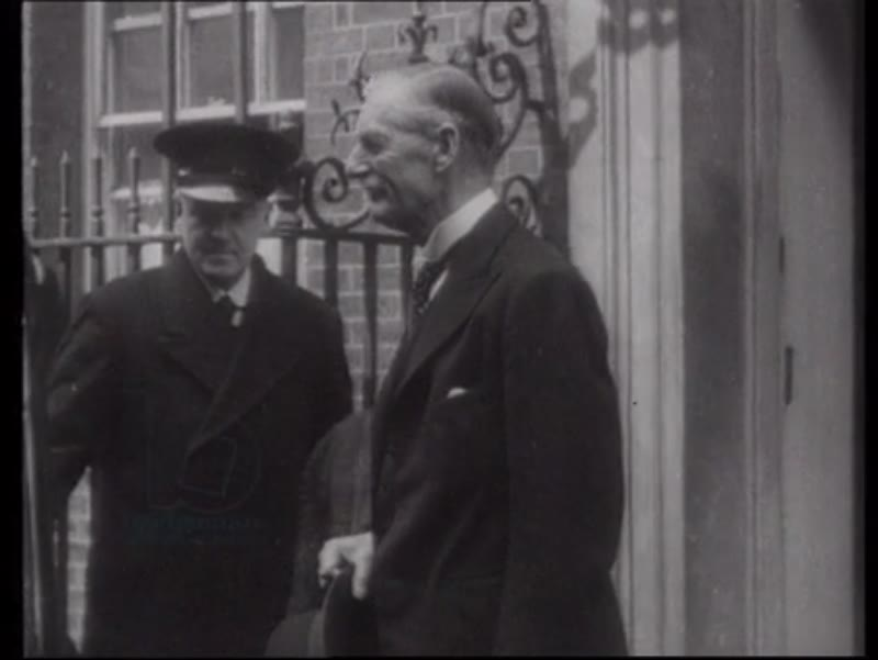 Neville Chamberlain and Winston Churchill outside 10 Downing Street, 1940