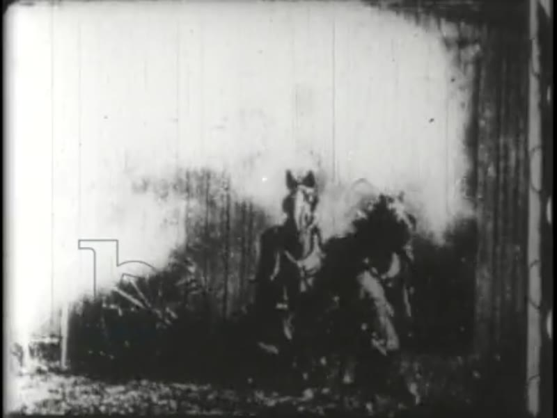 The burning stable, early Edison film, 1896