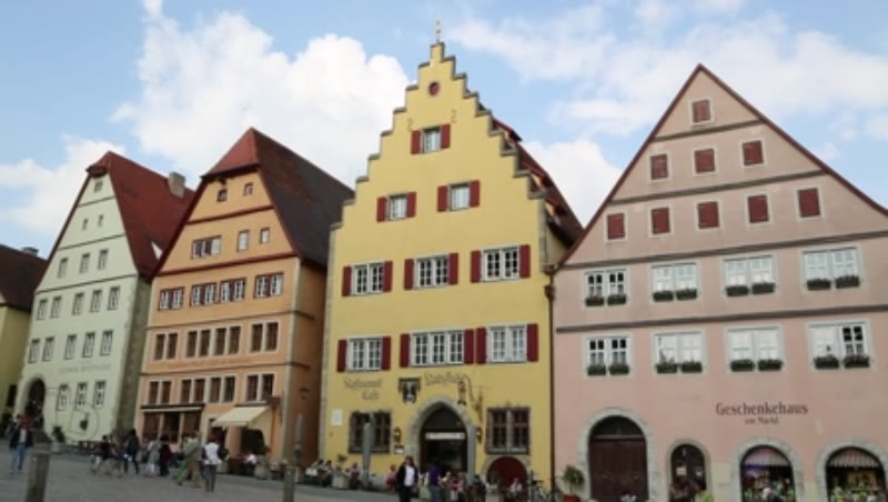 Houses in the Main Square of Rothenburg ob der Tauber