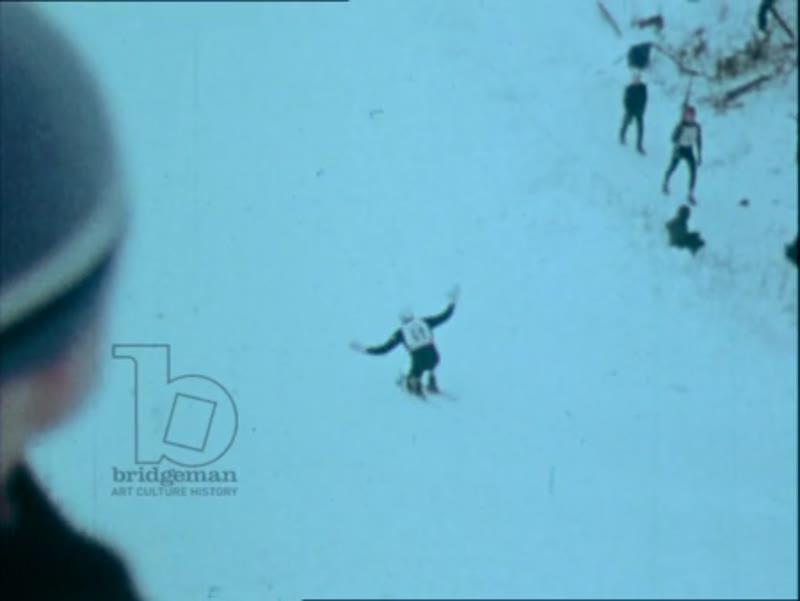 Catching reindeer, children's ski jump cometition, Norway 1970s