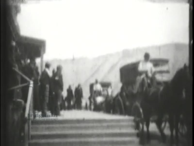 Coaches Arriving at Mammoth Hot Springs, early Edison film, 1899