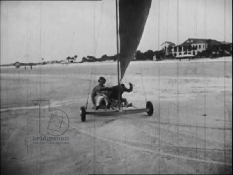 Sand yacht race, USA, 1940s-1950s.