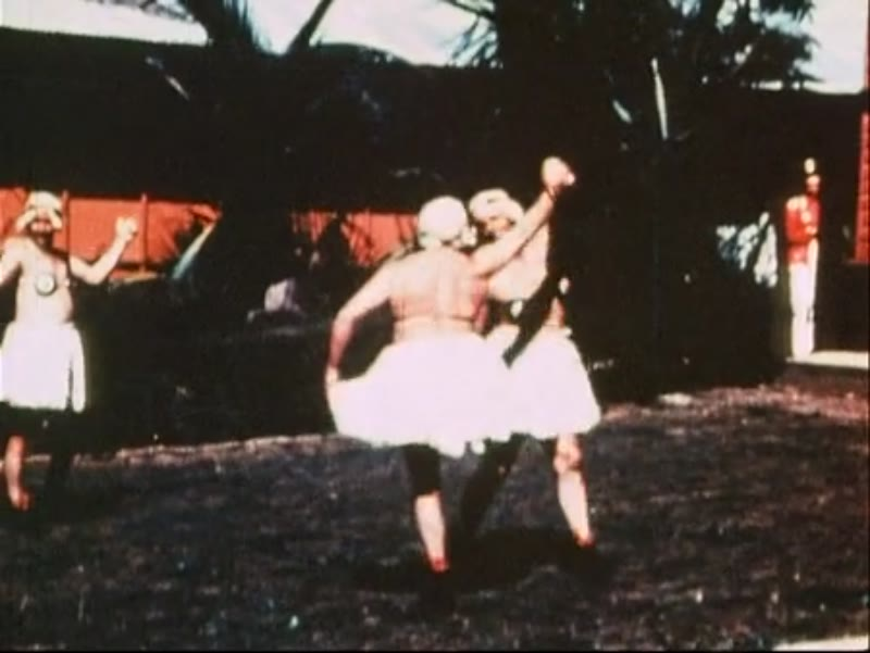 Off duty men of the RAAF perform a comedy ballet routine in skirts, Australia 1943