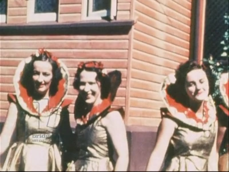 Off duty members of WAAAF dress up and perform comedy dance routines, can-can, Egyptian, hula dancing, etc. Australia 1943