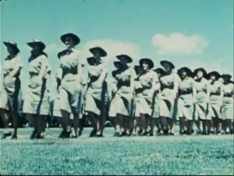 WAAAF members parade to celebrate the 2 year anniversary of the forming of the WAAAF, 15th March 1943, Australia