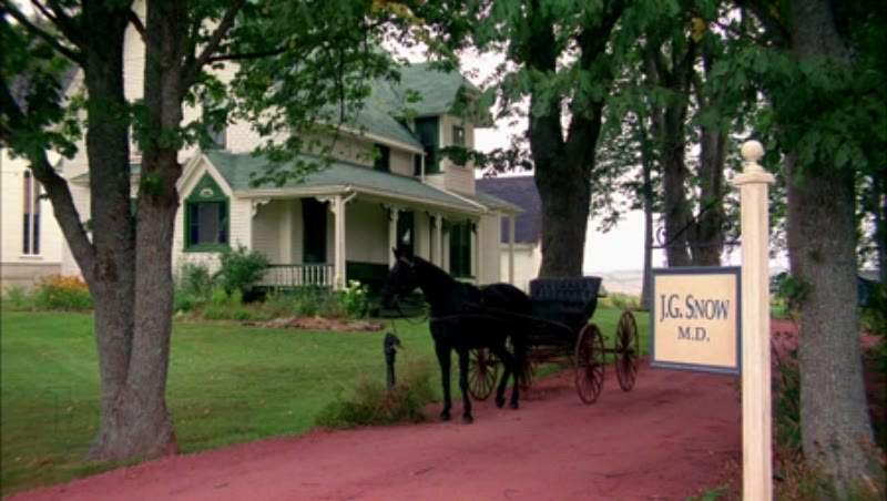 Country office with horse and carriage parked outside, 1908 - reenactment