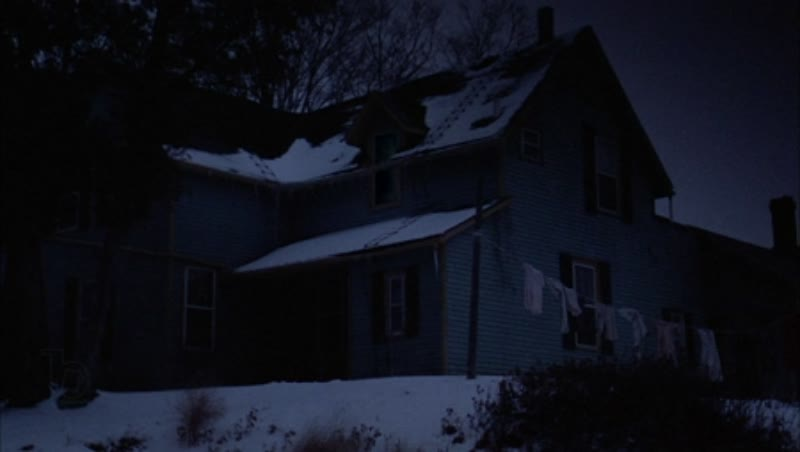 Static shot of a country home in the countryside by night in the snow