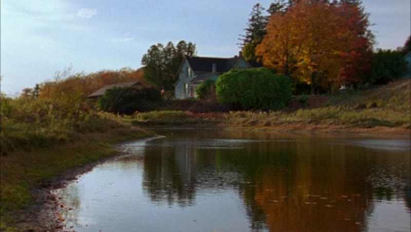 Static shot of a country home by a river, clip 2