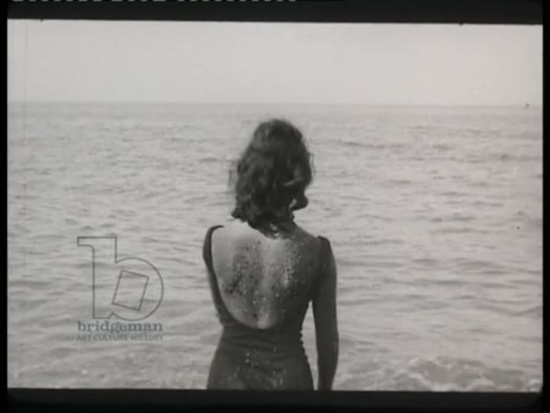 Tipaza coast and ruins. Young women and men on the beach. Algiers, 1961