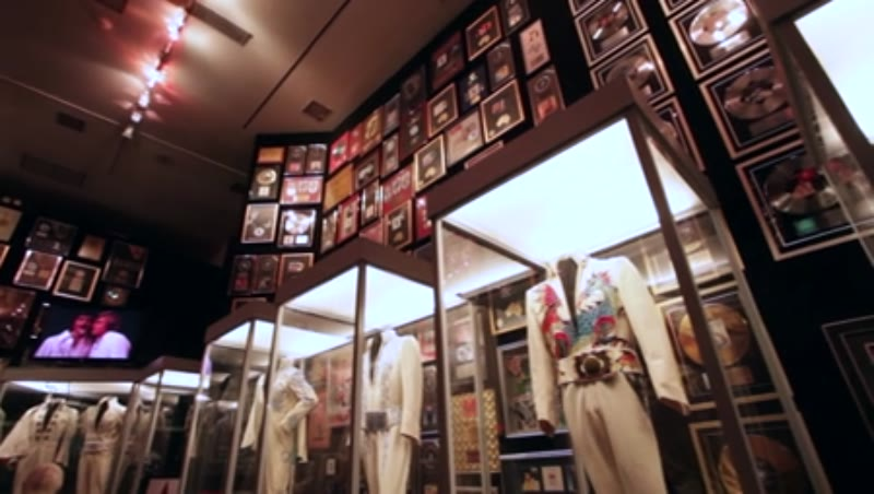 Elvis Presley's costumes on display in the Trophy Room at Graceland