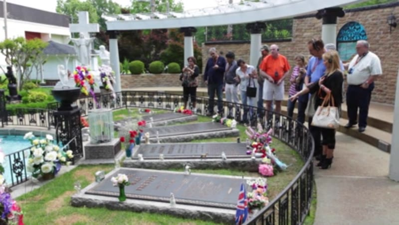 Tourists visit burial site of Elvis Presley and his family at Graceland