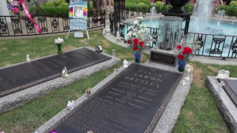 Shot of Elvis Presley's grave in the Meditation Garden of Graceland