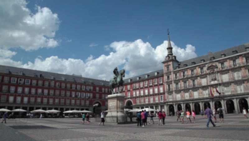Static shot of the Plaza Mayor in Madrid, Spain