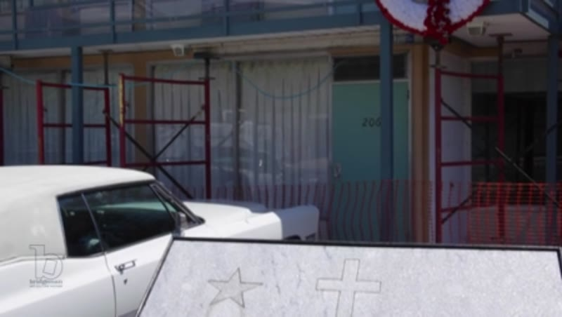 Tilt shot of the Lorraine Motel where Martin Luther King, Jr. was assassinated and commemorative plaque. Memphis, Tennessee, clip 2