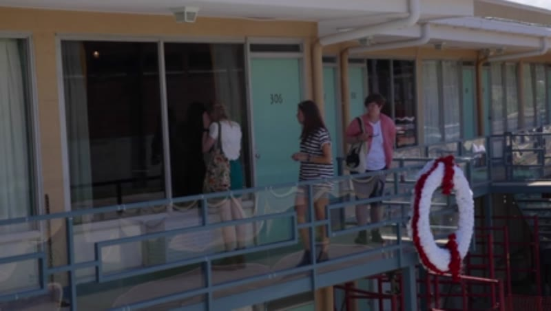 Tourists on the balcony of Lorraine Motel where Martin Luther King, Jr. was assassinated. Memphis, Tennessee