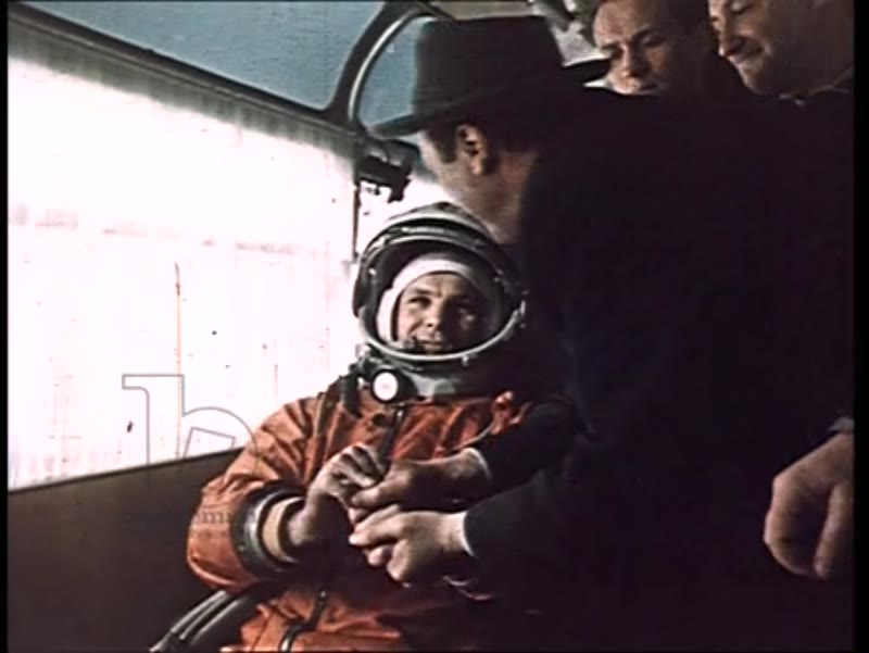Yuri Gagarin puts on spacesuit and boards the Vostok 1 for the launch of the first rocket into outer space. 12th April 1961