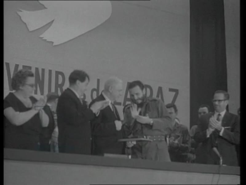 Fidel Castro gets the Lenin Prize for peace in Cuba, Havana, 1961