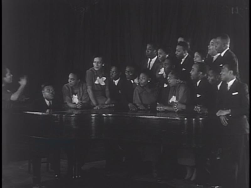 We  Work Again, part 7 - 1937, African-American choir singing, as part of the WPA arts project