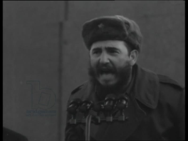 Fidel Castro gives a public speech in Moscow, 1963