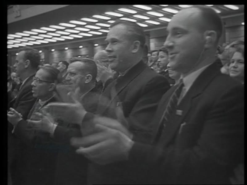 The Cuban delegation presents a Cuban flag to Khrushchev, Rita Diaz, Blas Roca, Moscow, 1961