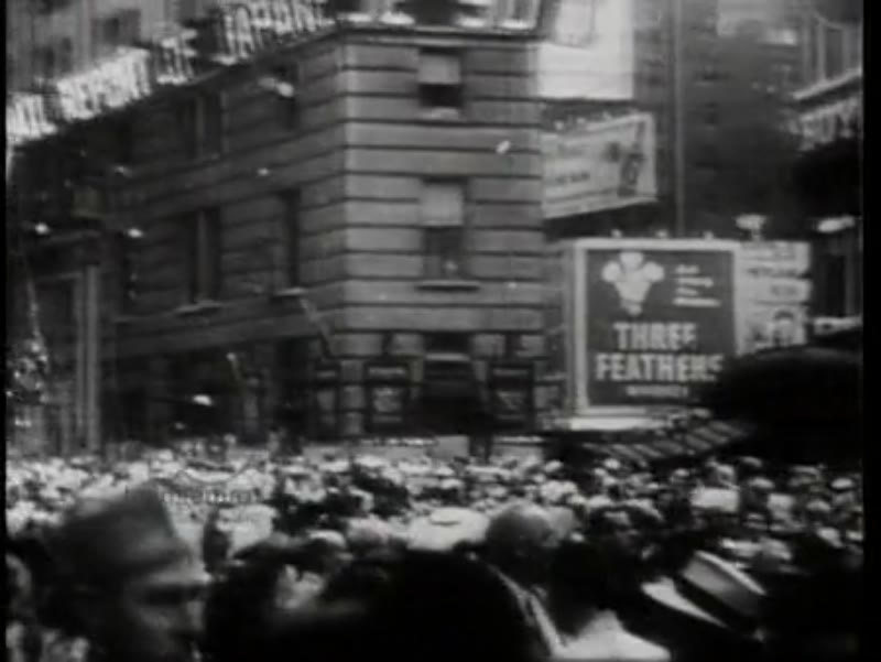 Crowds celebrate Japan's surrender in Times Square, New York, 1945