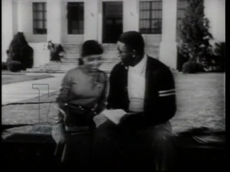 The Jackie Robinson Story (1950) part 3 - Football game, Jackie Robinson at a sports massage and at California University