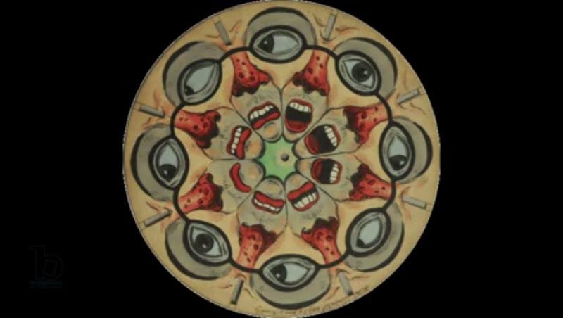 Animated 19th century phenakistoscope with kaleidoscopic faces