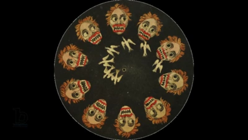 Animated 19th century phenakistoscope with demon and bird