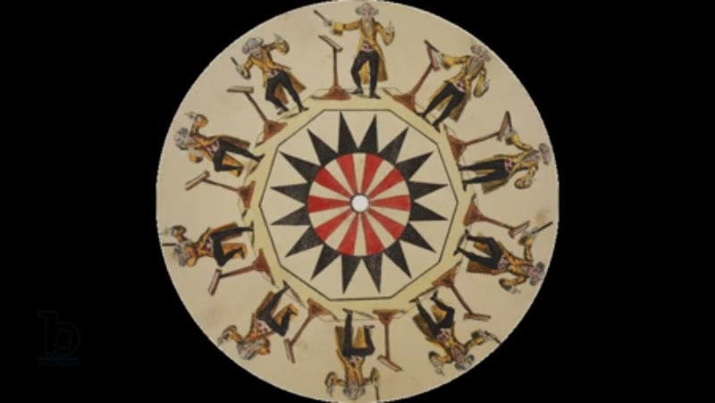 Animated 19th century phenakistoscope with conductor