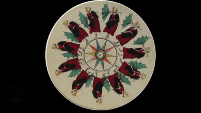 Animated 19th century phenakistoscope with woman struggling with umbrella in the wind and rain